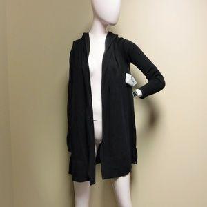 Women's Athleta Black Hooded Sweater/Cradigan Sz M